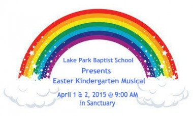 Easter Kindergarten Musical, April 1 & 2, 2015 @ 9:00 in Sanctuary